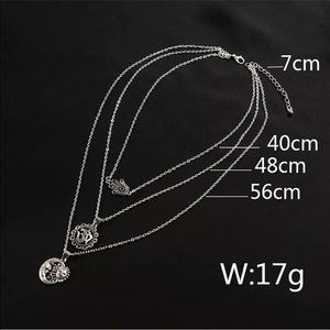 Multi-Layer Boho Necklace Sun//Moon OM Symbol Hamsa-Hand Silver Gift 3-Strand